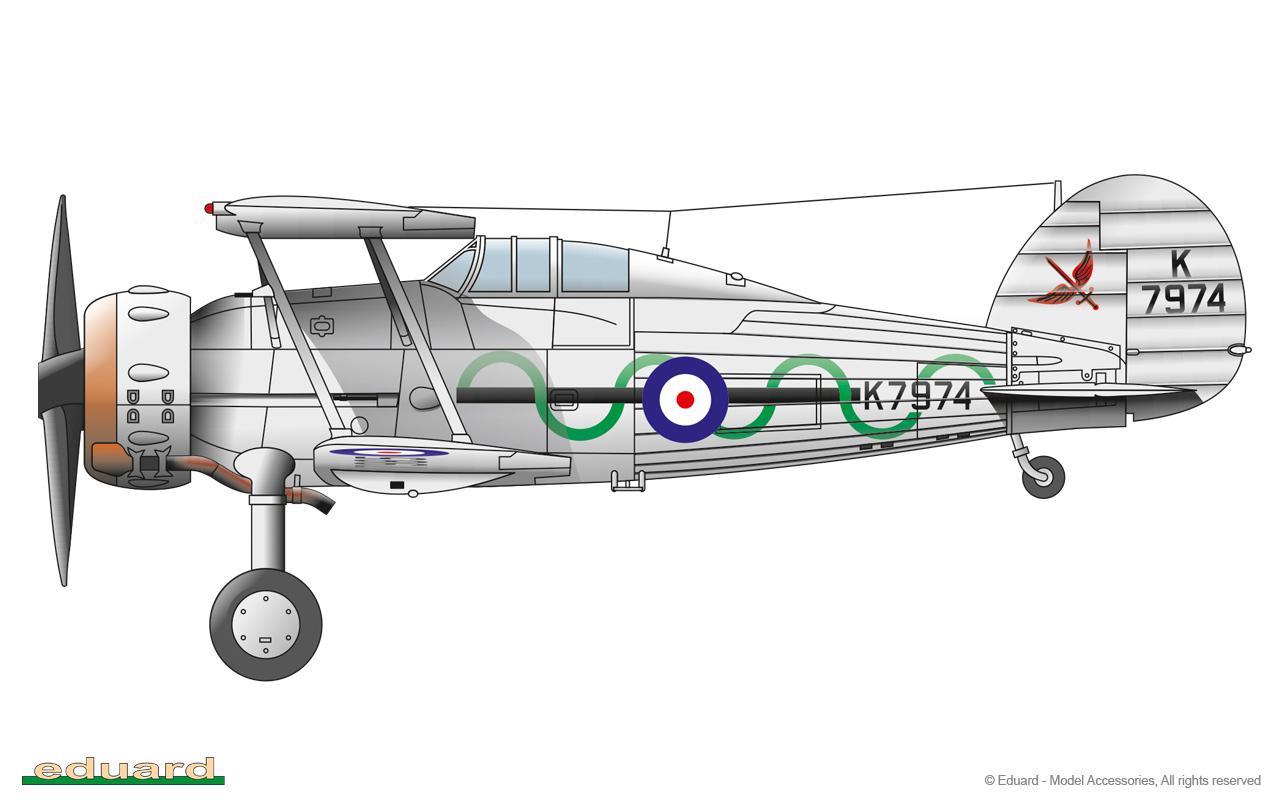 Gladiator 1/48 - Gladiator Mk. I, K7974, No. 87 Squadron, Shoreham, England, 1938