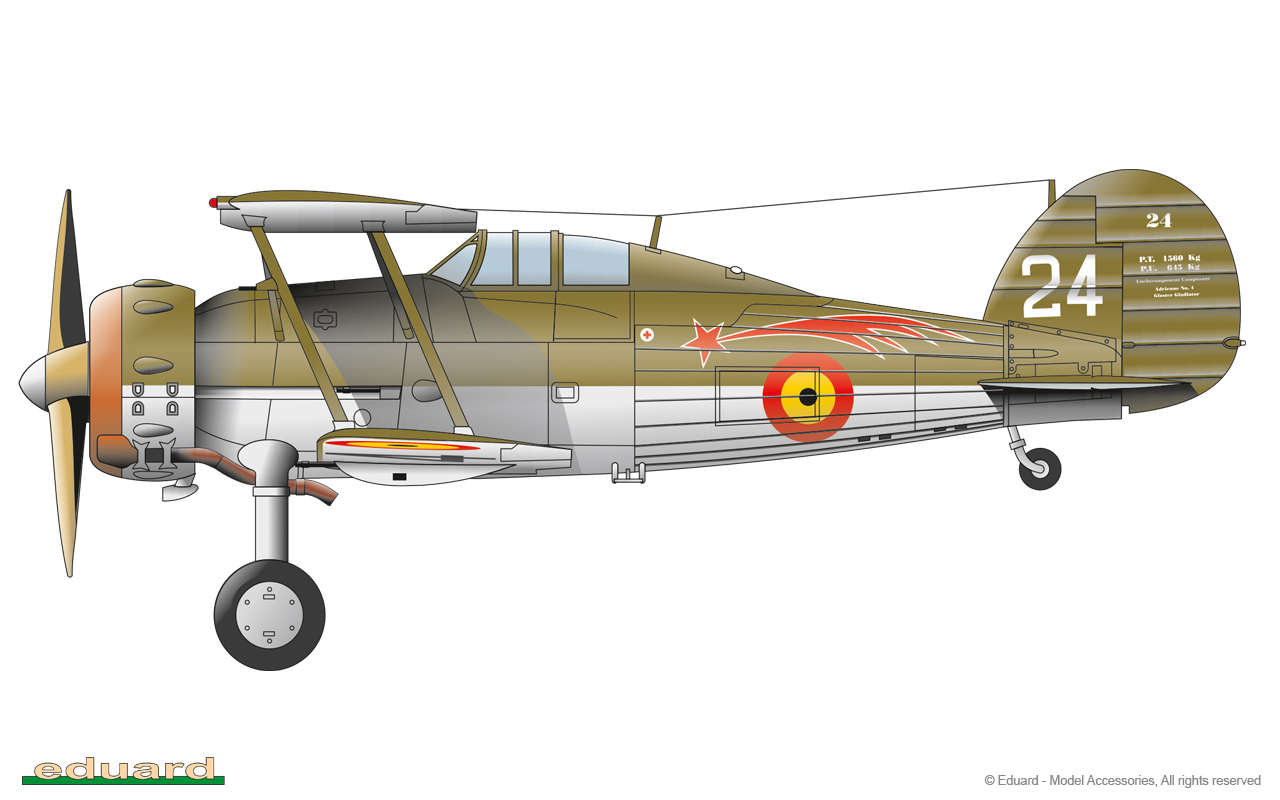Gladiator 1/48 - Gladiator Mk.I, 1er Escadrille du 1er Groupe du 2éme Regiment Aéronautique, Schaffen, Belgium 1939