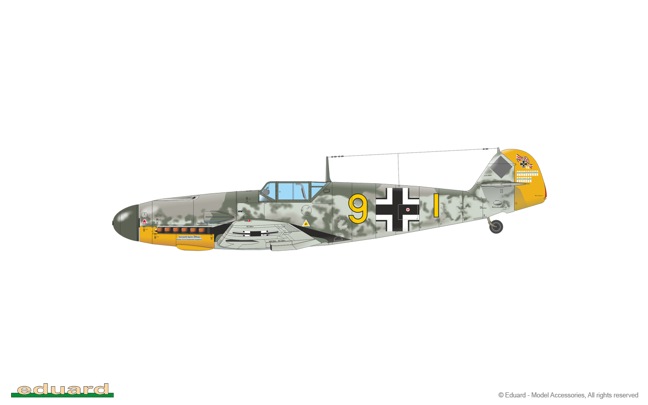 Bf 109F-2 1/48 -  Bf 109F-2, W. Nr. 9553, flown by Oblt. Siegfried Schnell, CO of 9./ JG 2, Théville, France,  November 1941
