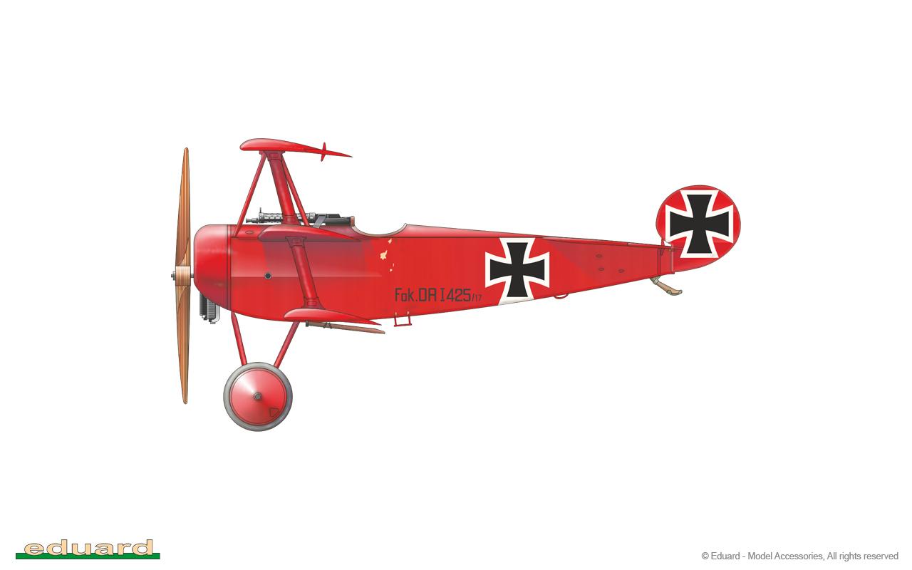 Fokker Dr. I 1/48 - 425/17 flown by Rittmeister M. Freiherr von Richthofen, CO of JG 1, Lechelle, France, March 1918