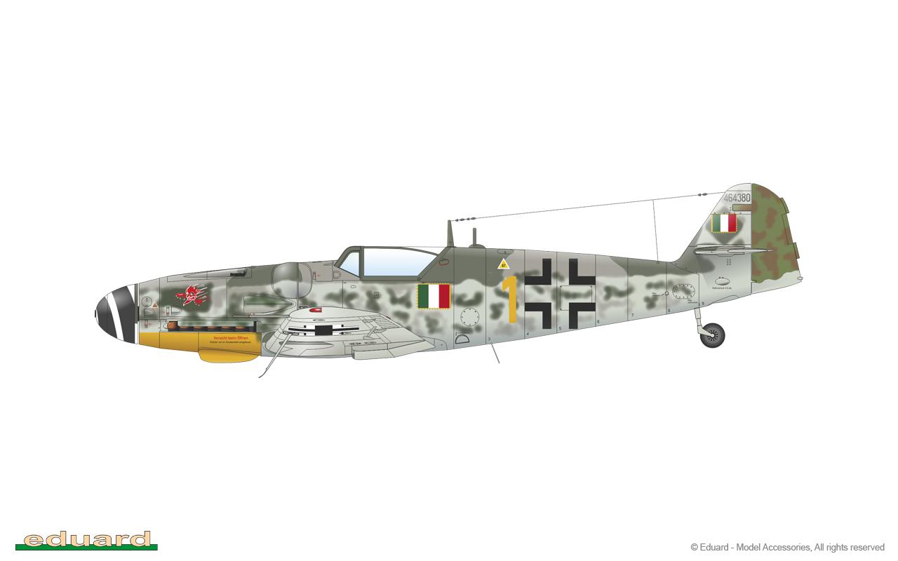 Bf 109G-14 1/48 - Bf 109G-14, W. Nr. 464380, flown by Magg. M. Bellagambi, CO of 5a Squadriglia,  2o Gruppo Caccia, Aeronautica Nazionale Repubblicana, Osoppo, Italy, March 1945