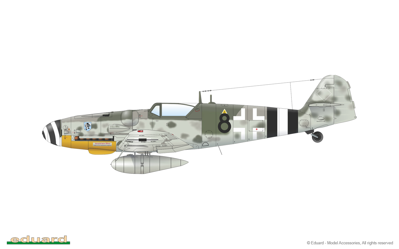 Bf 109G-14 1/48 - Bf109G-14, flown by Oblt. R. Schlegel, CO of 10./ JG 4, Jüterbog – Damm, Germany,  March 1945