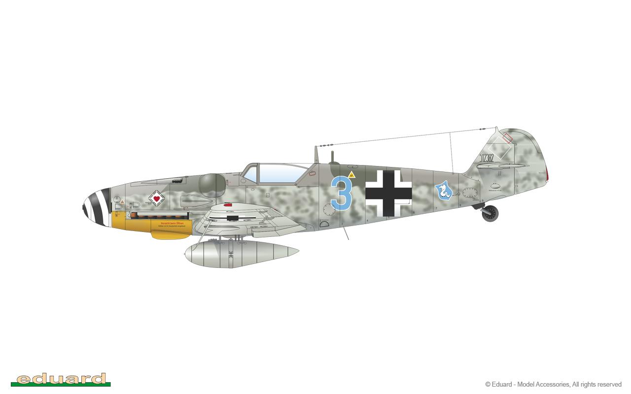 Bf 109G-14 1/48 - Bf 109G-14/U4, W. Nr. 512382, flown by Lt. H. Schlick, 4./ JG 77, Schönwalde, Germany,  November 1944