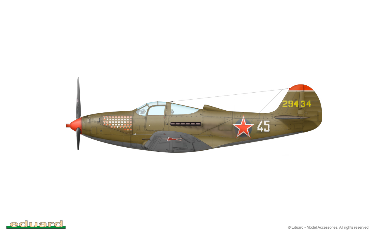 Bella 1/48 - P-39N-1, s/n 42-9434 , flown by Senior Lieutenant Alexandr Fedorovich Klubov, 16. GIAP, east Poland, August 1944