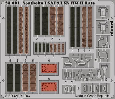 Upínací pásy USAF & USN 2.sv.v. pozdní verze 1/24