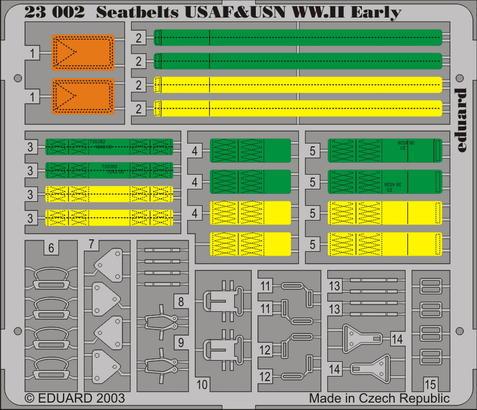 Upínací pásy USAF & USN 2.sv.v. raná verze 1/24