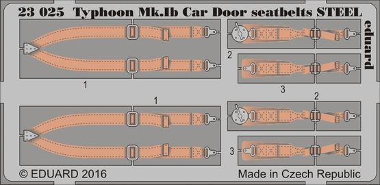 Typhoon Mk.Ib Car Door seatbelts STEEL 1/24