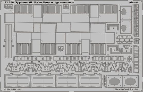 Typhoon Mk.Ib Car Door křídelní výzbroj 1/24