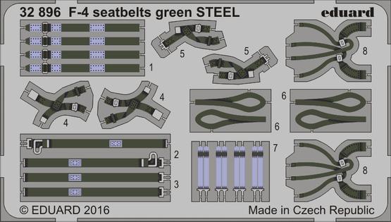 F-4 seatbelts green STEEL 1/32