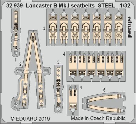 Lancaster B Mk.I стальные ремни 1/32