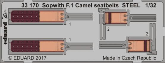 Sopwith F.1 Camel seatbelts STEEL 1/32