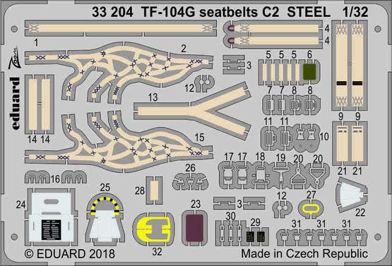 TF-104G seatbelts C2 STEEL 1/32  - 1