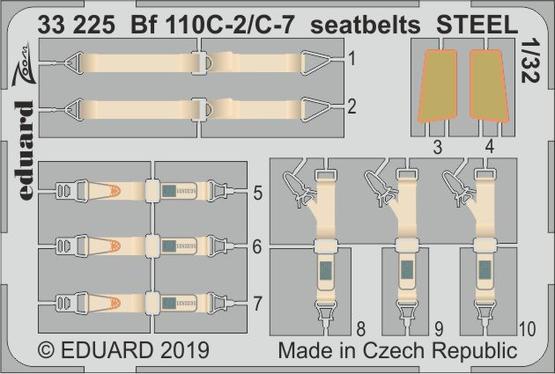 Bf 110C-2/C-7 seatbelts STEEL 1/32