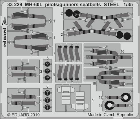 MH-60L pilots/gunners seatbelts STEEL 1/35