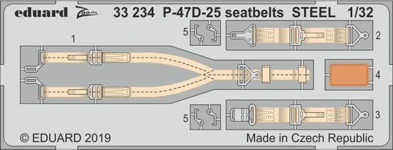 P-47D-25 seatbelts STEEL 1/32