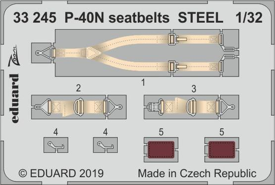 P-40N seatbelts STEEL 1/32
