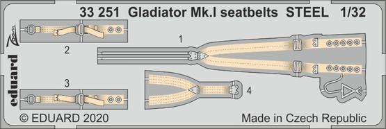 Gladiator Mk.I upínací pásy OCEL 1/32