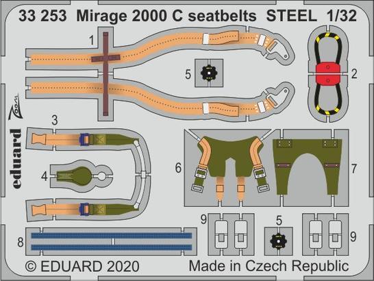 Mirage 2000 C seatbelts STEEL 1/32