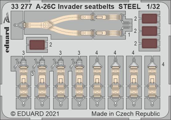 A-26C Invader seatbelts STEEL 1/32