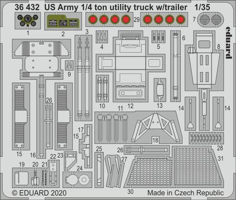 US Army 1/4 ton utility truck w/ trailer 1/35
