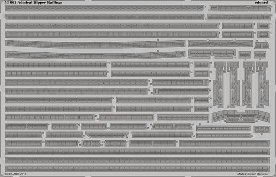 Admiral Hipper railings 1/350
