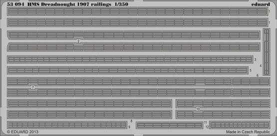 HMS Dreadnought 1907 railings 1/350