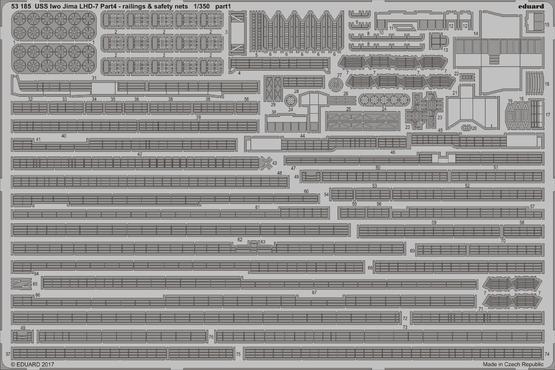 USS Iwo Jima LHD-7 část 4. zábradlí a záchranné sítě 1/350  - 1