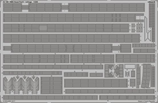 HMS Hood pt. 3 railings 1/200