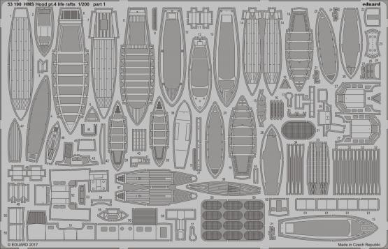 HMS Hood pt. 4 life rafts 1/200  - 1
