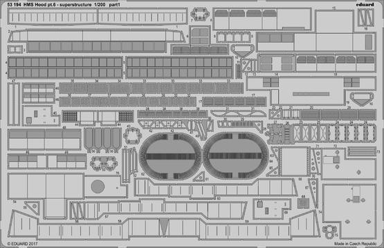 HMS Hood část 6 - hlavní nástavba 1/200  - 1