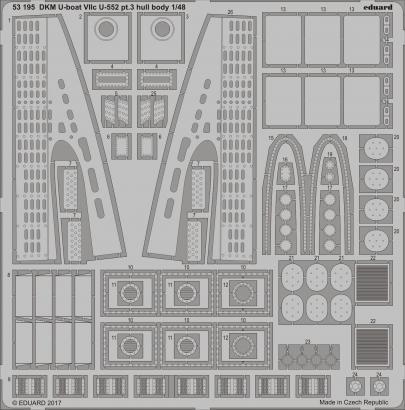 DKM U-boat VIIc U-552 pt.3 hull body 1/48