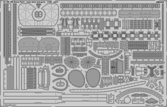 RN Roma pt.1 main deck and guns 1/350  - 1