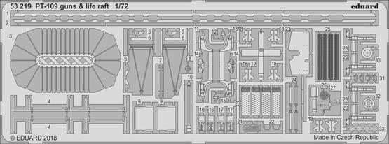 PT-109 guns & life raft 1/72