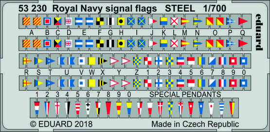 Royal Navy сигнальные флаги, сталь 1/700