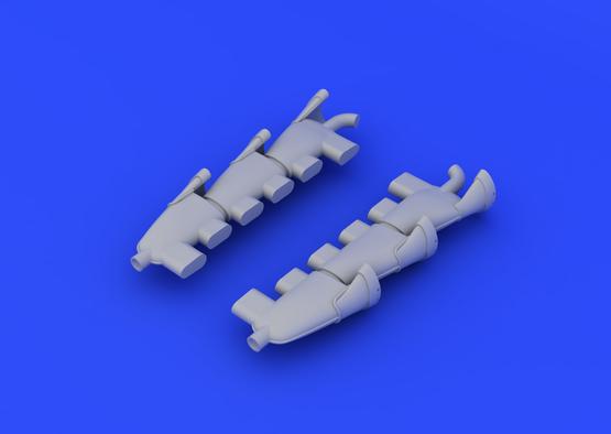 Spitfire Mk.V exhaust stacks fishtail 1/48  - 1