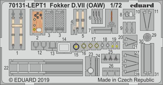 Fokker D.VII (OAW) PE-set 1/72
