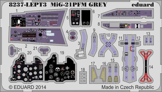 MiG-21PFM エッチングパーツセット 灰色 1/48  - 1