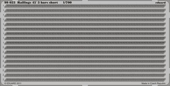 Railings 45´ 3 bars short 1/700