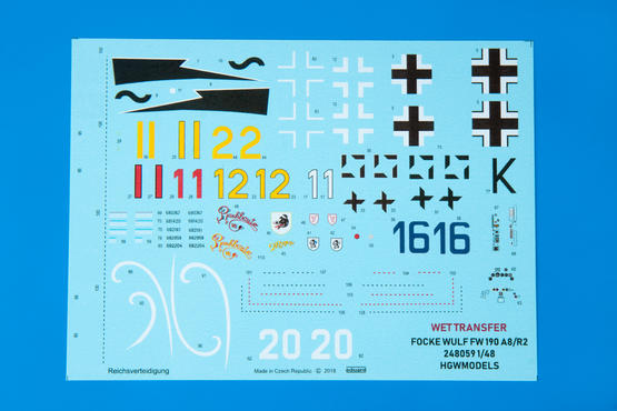 Fw 190A-8/R2 Reichsverteidigung WET TRANSFER decals 1/48