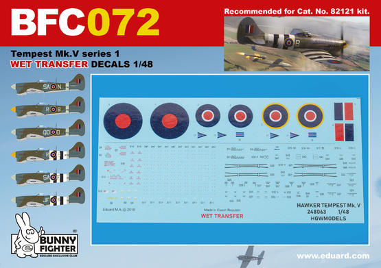 Tempest Mk.V stencils WET TRANSFER decals 1/48