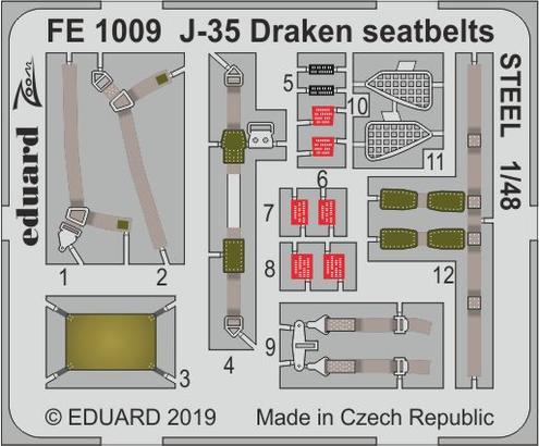 J-35 Draken seatbelts STEEL 1/48