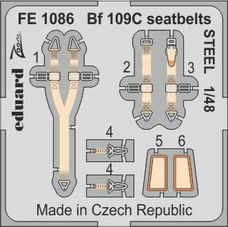 Bf 109C seatbelts STEEL 1/48