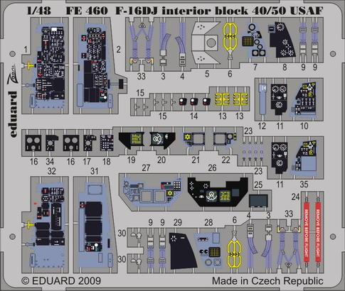 F-16DJ interior Block 40/50 USAF S.A. 1/48