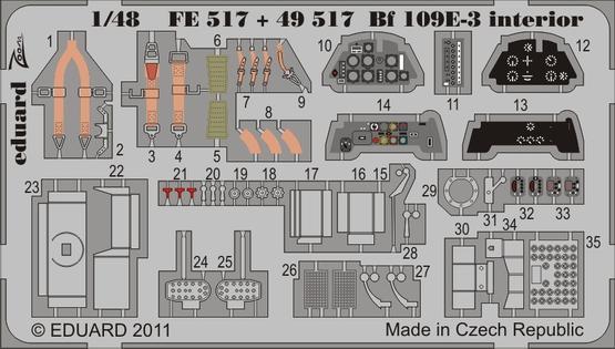 Bf 109E-3 interior S.A. 1/48