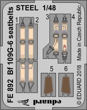 Bf 109G-6 seatbelts STEEL 1/48