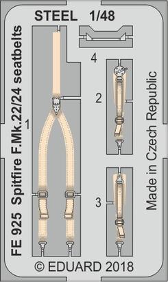スピットファイア F.Mk.22/24 スチール製シートベルト 1/48