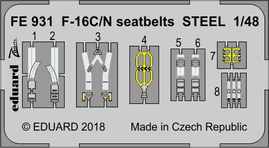 F-16C/N seatbelts STEEL 1/48