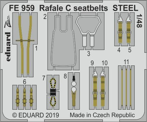 Rafale C seatbelts STEEL 1/48