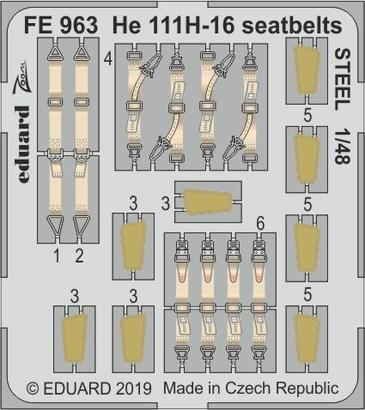 He 111H-16 seatbelts STEEL 1/48
