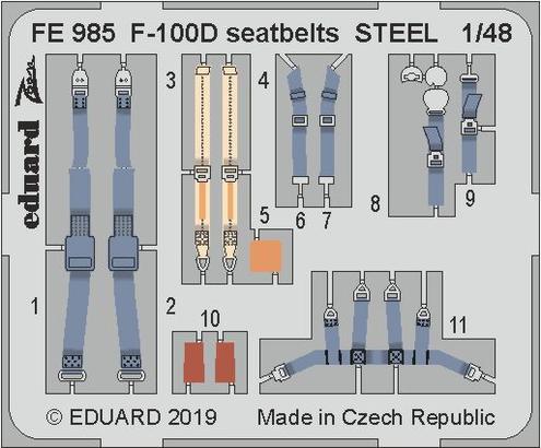 F-100D upínací pásy OCEL 1/48